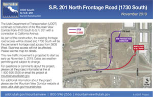 S.R. 201 North Frontage Road (1730 South) Detour