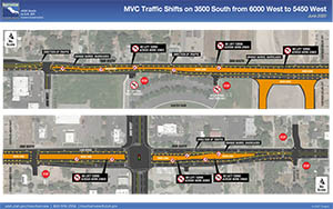 MVC Traffic Shifts on 3500 South from 6000 West to 5450 West NO LEFT TURN; RIGHT TURN ONLY NO LEFT TURN; RIGHT TURN ONLY NO LEFT TURNS ACROSS WORK ZONES NO LEFT TURNS ACROSS WORK ZONES June 2020