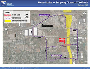 Detour Routes for Temporary Closure of 2700 South - September 2020