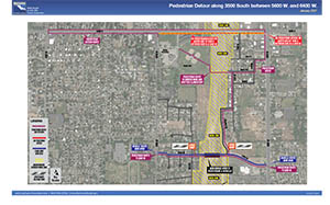 Pedestrian Detour along 3500 South between 5600 w. and 6400 w. - January 2021