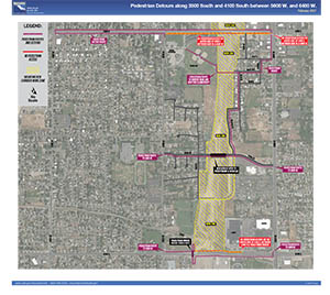 Pedestrian Detours along 3500 South and 4100 South between 5600 W. and 6400 W. - February 2021